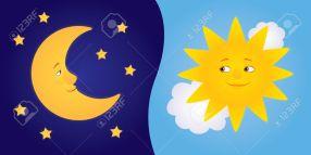half moon and sun